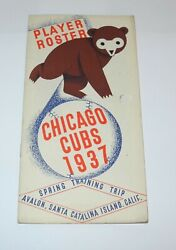 1937 Baseball Chicago Cubs Spring Training Player Roster Program Schedule Guide