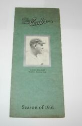 1931 Baseball Chicago Cubs Spring Training Player Roster Schedule Rogers Hornsby