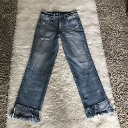 Silver Vintage Ankle Straight High Waist Distressed Jeans Size W24 X L27