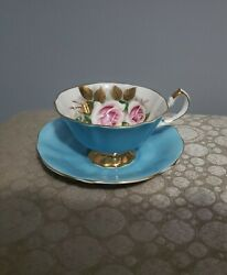 Vintage Queen Anne Turquoise Blue And Roses Teacup And Saucer