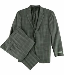 Hart Schaffner Marx Mens Window Two Button Formal Suit Grey 44/unfinished