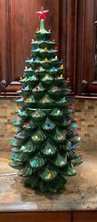 Vintage Ceramic Christmas Tree Large Over 34 Tall Excellent Condition Rare