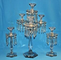 Heisey Old Williamsburg 4 Light Candelabra And 2 Single Candlestick Holders