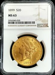 1899 Gold United States 20 Dollar Liberty Double Eagle Ngc Mint State 63