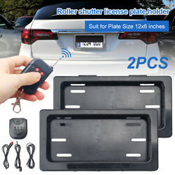 Usa Plastic Hide-away Shutter Cover Up Electric Stealth License Plate Frame Set