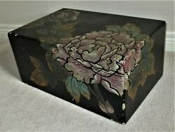 Vintage Wooden Chinese Black Lacquer Hand Carved Painted Clothes Trunk Chest Box