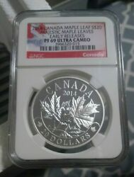 2014 Canada S20 Silver Maple Leaf - Majestic Maple Leaves Ngc Pf 69 Ultra Cameo