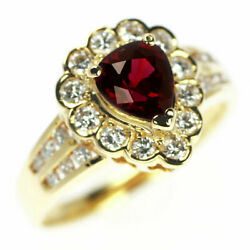 18yg Pigeon Blood Ruby Diamond Ring 1.30ct D0.50ct - Auth Selby_japan