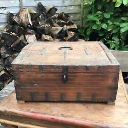 Old Vintage Antique Carved Wooden Indian Dowry Box With Metal Work