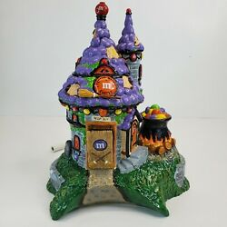 Department 56 Halloween Mandm Flying Witch Castle Broom Cauldron Animated 2004
