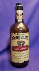 1940s Seagram's Five 5 Crown Whiskey 4/5 Quart Brown Bottle Unique And Rare 10