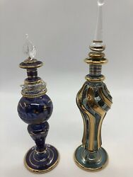 Vintage Gold Glass Perfume Bottles. Unknown Maker. Hand Blown Set Of 2. Stoppers