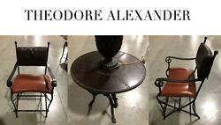 Theodore Alexander Metal And Leather Table And Chair Set