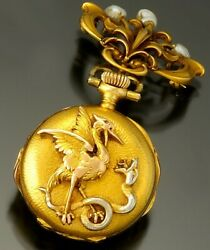 Nouveau And Co. Gold Pendant Watch C1890s 18k Gold Signed