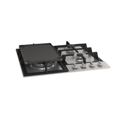 24 In. Gas Cooktop In Stainless Steel Including Cast Iron Griddle With 4 Burners