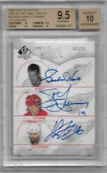 2009-10 Sp Authentic Sign Of The Times 3 Howe/yzerman/zetterburg Bgs 9.5 02/25