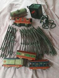 Vintage Antique Old Collectible Tin Toy Train Cars, Tracks, Motor