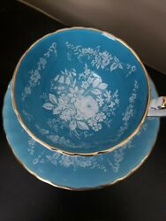 Vintage Aynsley Raised White Flowers Turquoise Blue Teacup And Saucer