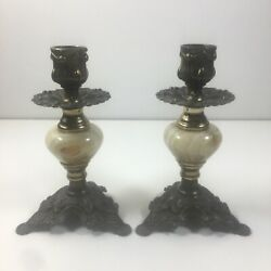 Vintage Decorative Bronze W/ Alabaster Candlestick Holders 6andrdquo Tall Bases 4andrdquo Wide