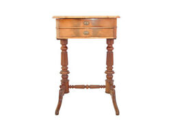 Sewing Table, Solid Wood, 2 Drawers, 19th Century