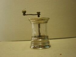 Antique Silver Plated And Cut Glass Pepper Mill Sp10