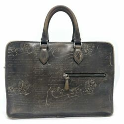Berluti Calligraphy Anjou Briefcase Business Bag Leather Menand039s Brown Authentic