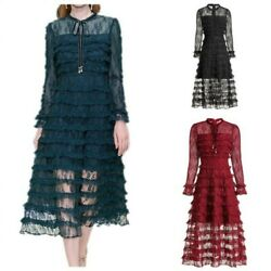 Women Evening Cocktail Formal Lace Cake Dress A-line Bows Long Sleeve Occident L