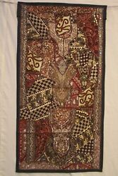 Indian Wall Hanging Panel Zardosi Work Embroidery Traditional Homedecor Tapestry