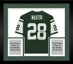 Frmd Curtis Martin Ny Jets Signed Mandn Green Replica Jersey And Hof 12 Insc