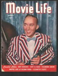 Movie Life 8/1947-ideal-bing Crosby Photo Cover-life Of Glenn Ford-roy Rogers...