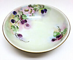Hand Painted And Signed 1929 Porcelain Fruit Berry Serving Bowl