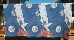 Vintage Cowboy Camp Blanket Beacon Wild West Cotton Red White And Blue