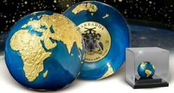2021 Barbados Silver 5 - Planet Earth Gold Plated - 3 Oz Antiqued Sperical Coin
