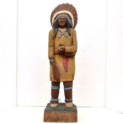 20 Tobacco Vintage Cigar Store Indian Countertop Statue Collectible Wood Carved