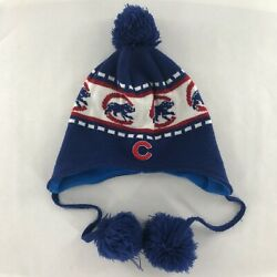Chicago Cubs Winter Snow Hat Pom Pom Red White Blue Flannel Liner Ear Flap Adult
