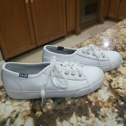 Keds Double Up Lea White Leather Girls Shoes Lace Up Casual Sneakers Size 1 M $12.00