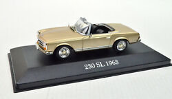 Mercedes-benz 230 Sl 1963 Golden Scale 143 From Atlas With Display Cabinet