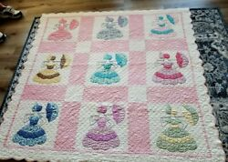 1950and039s Hand Made Sunbonnet Sue Quilt 64 X 68 Yellow Pink Blue Excellent