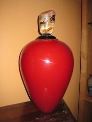 Rare Satava Red Glass Petroglyph Topped Lidded Vase 17 1/2 Signed Numbered