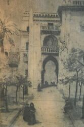 Marguerite Zorach Etching Of Middle Eastern Building With Figures