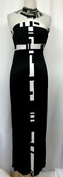 Emilio Pucci Sz 4 Monochrome Printed Silk Beaded Halter Collar Gown Sold-out