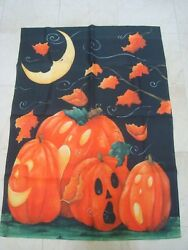 Whimsical Pumpkins And The Moon Large Halloween Flag So Cute