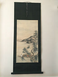 Vintage Chinese Painting Scroll Fishing In The River Fisher Boy Tree 60h 23w