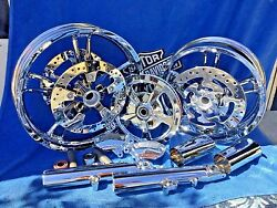 Harley 21 Enforcer Style Chrome Wheels W/ Rotors Everything You See Last Set