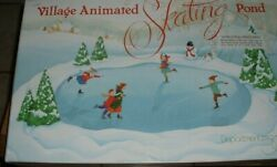 Department 56 Village Animated Skating Pond Complete And Works