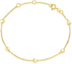 Carleen Solid Real 14k Yellow Gold Heart Love Delicate Simple Thin Bracelet Dain