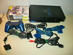 Sony Playstation 2 Console Ps2 Scph-39001 Games Lot Madden Suzuki Nba Turismo