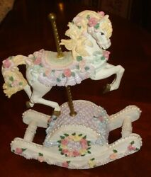 Carousel Horse Music Box - Multi Colored Roses Plays The Carousel Waltznice