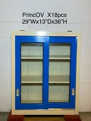 29wx13dx36h Sliding Glass Door Lab Overhead Cabinets Duralab Glossy Blue