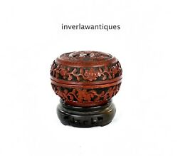 Antique Chinese Qing Dynasty Lacquered Box Red Cinnabar